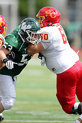 19 September 2015:  William Hargrove works to get past Blade Bradley during an NCAA division 3 football game between the Simpson College Storm and the Illinois Wesleyan Titans in Tucci Stadium on Wilder Field, Bloomington IL