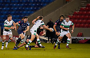 Newcastle Falcons wing Ben Stevenson off loads the ball to  Jamie Blamire during a Gallagher Premiership Round 12 Rugby Union match, Friday, Mar 05, 2021, in Eccles, United Kingdom. (Steve Flynn/Image of Sport)