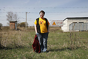 Chernobyl, Exclusion Zone, Ukraine. Tourists coming to see  the Chernobyl reactor, and exclusion zone. The  Chernobyl Reactor, town, plant and environs just before the 20th anniversary of the nuclear disaster.