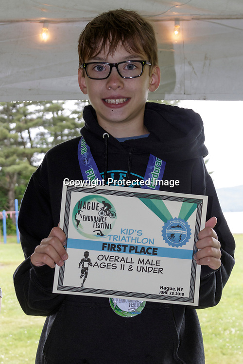 Evan Kowalewski wins the 2018 Hague Endurance Festival Triathlon boy's age 11 and under group