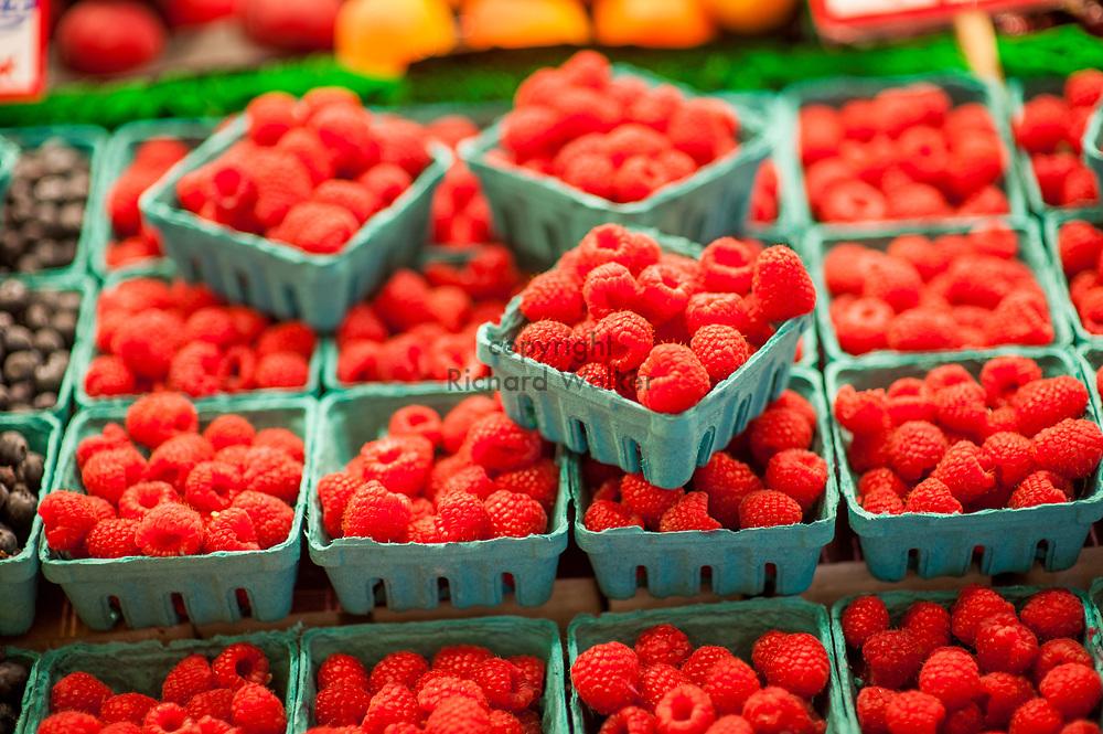 2018 MAY 15 - Raspberries for sale in Pike Place Market in Seattle, WA, USA. By Richard Walker
