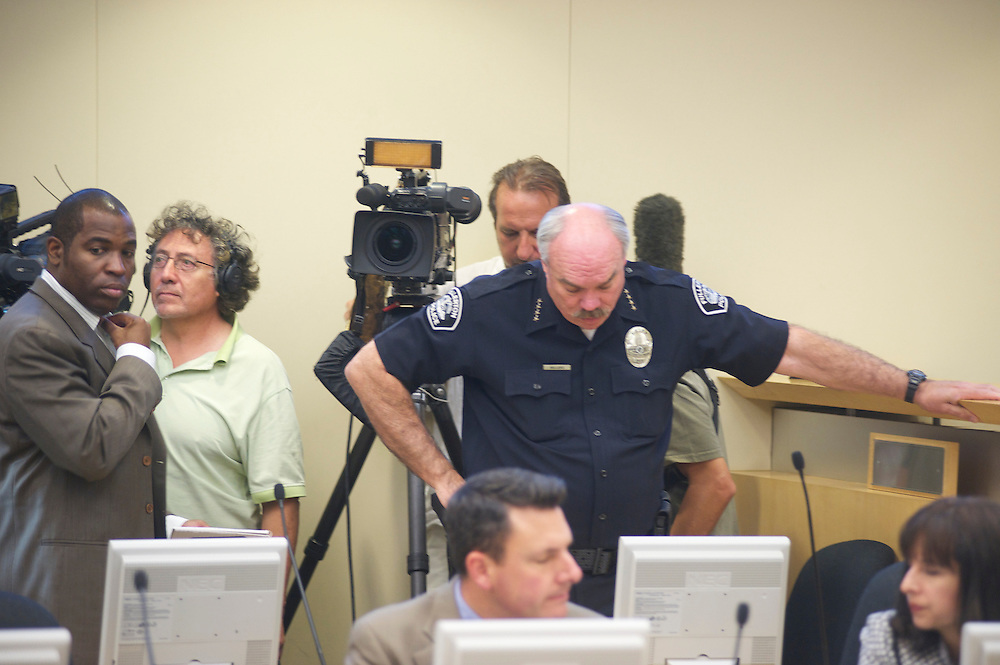 Police Chief Mike Sellars at a Fullerton City Council Meeting where public comments dominated the session.  Discussed was the death of Kelly Thomas, a mentally ill homeless man that died after an altercation with FUllerton Police. During the months since, two FPD officers have been charged with 2nd dgree murder and involuntary manslaughter and ar ecall campaign has begun agains three seated council members.