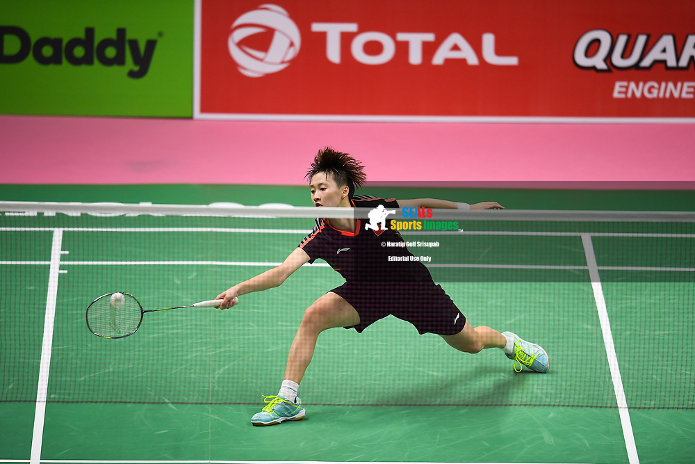 BANGKOK, THAILAND - MAY 24: Chen Yufei of China in action on Court 1 during her Quarter Finals match against Mia Blichfeldt of Denmark at the BWF Total Thomas and Uber Cup Finals 2018, Impact Arena, Bangkok, Thailand on May 24, 2018.<br /> .<br /> .<br /> .<br /> (Photo by: Naratip Golf Srisupab/SEALs Sports Images)<br /> .<br /> Any image use must include a mandatory credit line adjacent to the content which should read: Naratip Golf Srisupab/SEALs Sports Images