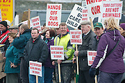 06/03/2013. Protestors near the court house in Loughrea Galwaywhere turf cutters where up on charges in relation to the cutting of turf in an area of conservation. Picture:Andrew Downes.