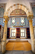 """The Enderûn Library (Enderûn Kütüphanesi), also known as """"Library of Sultan Ahmed III"""" . The walls above the windows are decorated with 16th and 17th century İznik tiles of variegated design and the  dome and vaults are typical of the Tulip period, which lasted from 1703 to 1730.  Tarkapi Palace Istanbul, Turkey .<br /> <br /> If you prefer to buy from our ALAMY PHOTO LIBRARY  Collection visit : https://www.alamy.com/portfolio/paul-williams-funkystock/topkapi-palace-istanbul.html<br /> <br /> Visit our TURKEY PHOTO COLLECTIONS for more photos to download or buy as wall art prints https://funkystock.photoshelter.com/gallery-collection/3f-Pictures-of-Turkey-Turkey-Photos-Images-Fotos/C0000U.hJWkZxAbg"""