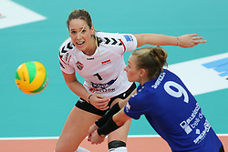 October 21, 2017 - Rzeszow, Poland - Helene Rousseaux (Developres), Agata Sawicka (Developres),  in action during CEV Volleyballl Champions League volleybal women match between Developres Rzeszow and Hapoel Kfar Saba on 21 October 2017 in Rzeszow, Poland. (Credit Image: © Foto Olimpik/NurPhoto via ZUMA Press)