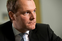 09 FEB 2012, BERLIN/GERMANY:<br /> Daniel Bahr, FDP, Bundesgesundheitsminister, waehrend einem Interview, in seinem Buero, Bundesministerium fuer Gesundheit<br /> IMAGE: 20120209-02-026<br /> KEYWORDS: Büro
