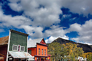 SHOT 9/27/12 1:33:20 PM - A few of the historic storefronts in Crested Butte, Co. Crested Butte is a destination for skiing, mountain biking, and a variety of other outdoor activities. The population was 1,487 at the 2010 census. (Photo by Marc Piscotty / © 2012)