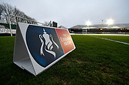 General view inside Rodney Parade stadium with an Emirates FA Cup branded pitchside board before the The FA Cup match between Newport County and Middlesbrough at Rodney Parade, Newport, Wales on 5 February 2019.