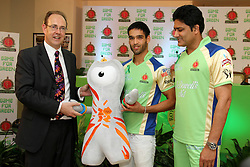 James Bevan, British High Commissioner to India handing over Olympics 2012 mascot to Siddharth Mallya during match 62 of the the Indian Premier League ( IPL) 2012  between The Royal Challengers Bangalore and the Mumbai Indians held at the M. Chinnaswamy Stadium, Bengaluru on the 14th May 2012..Photo by Prashant Bhoot/IPL/SPORTZPICS