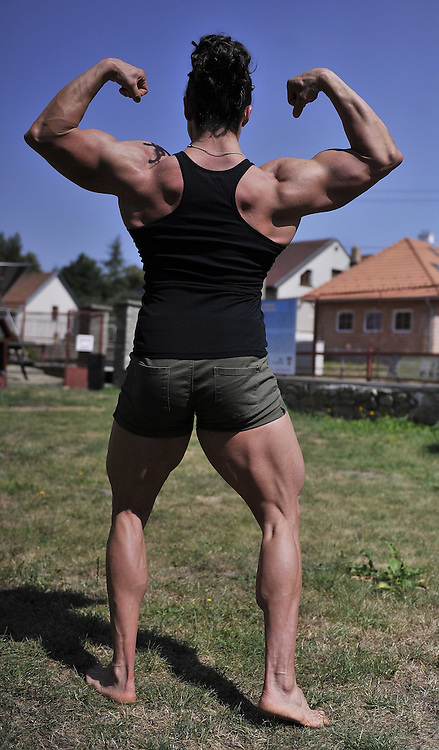 Aug. 5, 2015 - Pelhrimov, Czech Republic - <br /> <br /> Czech best bodybuilder and vice world champion in bodybuilding, 33 years old Vera Mikulcova from Jihlava is the youngest and also the heaviest professional bodybuilder of the world. Vera Mikulcova poses in Pelhrimov, Czech Republic, August 5, 2015.<br /> ©Exclusivepix Media