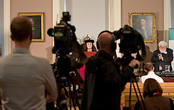 © Licensed to London News Pictures. 05/02/2013. London, United Kingdom. Media gather for the Face of Richard III being unveiled 528 years after his death.  A facial reconstruction revealing what may be the features of King Richard III at the Society of Antiquaries, Burlington House, Piccadilly. Photo credit : Justin Setterfield/LNP.