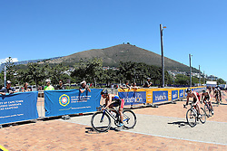 The chase group during the cycle leg during the Elite Women race of the Discovery Triathlon World Cup Cape Town leg held at Green Point in Cape Town, South Africa on the 11th February 2017.<br /> <br /> Photo by Shaun Roy/RealTime Images