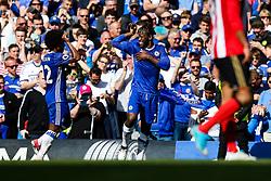 Michy Batshuayi of Chelsea celebrates with Willian after scoring his 1st goal of the game - Rogan Thomson/JMP - 21/05/2017 - FOOTBALL - Stamford Bridge - London, England - Chelsea v Sunderland - Premier League..