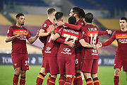 Foto Luciano Rossi/AS Roma/ LaPresse<br /> 17/12/2020 Roma ( Italia)<br /> Sport Calcio<br /> AS Roma - Torino<br /> Campionato di Calcio Serie A Tim 2020 2021<br /> Stadio Olimpico di Roma<br /> Nella foto: I calciatori della AS Roma festeggiano<br /> <br /> Photo Luciano Rossi/ AS Roma/ LaPresse<br /> 17/12/2020 Rome (Italy)<br /> Sport Soccer<br /> AS Roma - Torino<br /> football Championship League A Tim 2020 2021<br /> Olimpico Stadium of Rome<br /> In the pic: AS Roma players celebrate