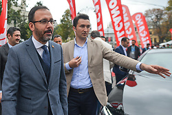 October 14, 2018 - Istanbul, Turkey - Mehmet Muharrem Kasapoglu, the Youth and Sports Minister, arrives ahead of the Awards Ceremony, at the finish line of the sixth stage - the Salcano Stage 166.7km from Bursa to Istanbul, of the 54th Presidential Cycling Tour of Turkey 2018. .On Sunday, October 14, 2018, in Istanbul, Turkey. (Credit Image: © Artur Widak/NurPhoto via ZUMA Press)