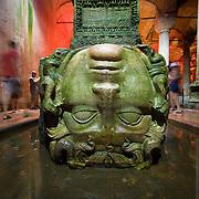 Medusa head column base in Basilica Cistern (Istanbul, Turkey - Jul. 2008) (Image ID: 080722-1059012a)