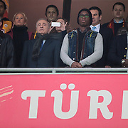 Turkish soccer club Galatasaray's president Unal Aysal (R) with Didier Drogba during their Turkish Super League soccer match Galatasaray between MP Antalyaspor at the TT Arena Stadium at Seyrantepe in Istanbul Turkey on Sunday 10 February 2013. Photo by TURKPIX