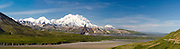 Panoramic view of Denali, the Great One, from the Eielson Visitor Center, Denali National Park, Alaska.
