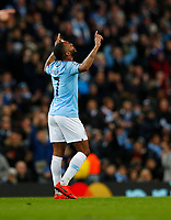 Football - 2018 / 2019 UEFA Champions League - Round of Sixteen, Second Leg: Manchester City (3) FC Schalke 04 (2)<br /> <br /> Raheem Sterling of Manchester City celebrates at The Etihad.<br /> <br /> COLORSPORT/LYNNE CAMERON