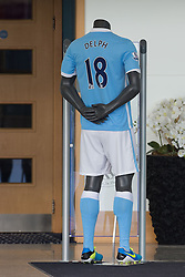 © Licensed to London News Pictures . 17/07/2015 . Manchester , UK . Manaquin wearing Fabian Delph Manchester City strip ( number 18 ) at the Etihad Stadium after Delph signs for Manchester City Football Club , from Aston Villa . Photo credit : Joel Goodman/LNP