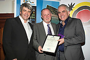 NO FEE PICTURES<br /> 25/1/19 Tom Sweeney, winner of Best Digital Media, presented by Paul Hackett of Click&Go and Eoghan Corry, editor of Travel Extra pictured at the Travel Extra Travel Journalist of the Year 2018 at the Clayton Hotel, Ballsbridge in Dublin. Picture; Arthur Carron