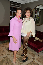 Left to right, SONIA FALCONE and BARIA ALAMUDDIN at a cocktail party hosted by Mrs Sonia Falcone and Mrs Kimberley Robson Chairman of Le Bal de la Riveria 2016 for the forthcoming Ball held at Flemings Hotel, Half Moon Street, London on 27th September 2016.