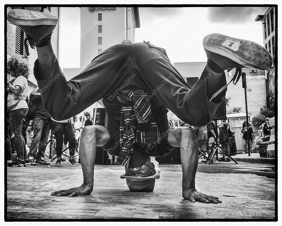 NEWARK, NEW JERSEY:  A dancer releases the week long day during the Block Party on Edison Plaice in Newark, NJ on Friday, July 2, 2021. (Brian B Price/TheFotodesk).