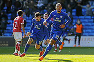 Cardiff City's Kenneth Zohore (10) celebrates after he scores his teams 1st goal with team mate Callum Paterson (18). EFL Skybet championship match, Cardiff city v Bristol city at the Cardiff city stadium in Cardiff, South Wales on Sunday 25th February 2018.<br /> pic by Carl Robertson, Andrew Orchard sports photography.