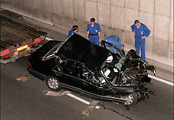File photo taken on August 31, 1997 - Princess Diana and Dodi Al Fayed's crashed Mercedes is removed from Alma tunnel in Paris, they both died in the accident along with driver Henri Paul. Princess Diana died on August 31 1997 after suffering fatal injures in a car crash in the Pont de l'Alma road tunnel in Paris. Her companion Dodi Fayed and driver and security guard Henri Paul were also killed in the crash. Photo by ABACAPRESS.COM