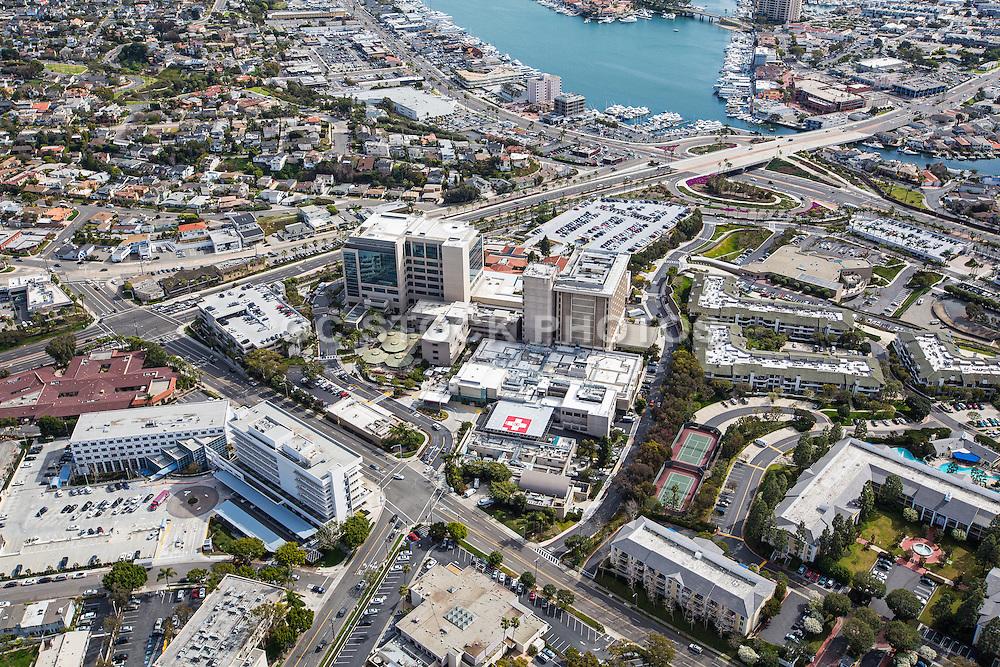 Aerial Stock Photo of Hoag Memorial Hospital in Newport Beach California