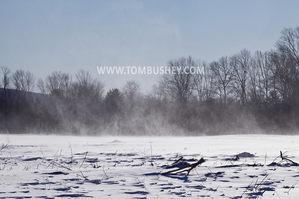 Wurtsboro, New York - Strong winds kick up snow after a snowstorm on Feb. 9, 2013.