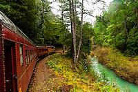 Skunk Train (tourist train) en route from Fort Bragg to Willits, Mendocino County, California USA
