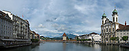 A panoramic view of the Chapel Bridge in Lucerne, Switzerland.
