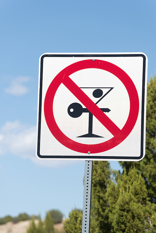 Drinking and driving highway sign in Cibola County, New Mexico.
