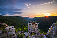 The sunsets over Blackwater Canyon from Lindy Point in Blackwater Falls State Park, West Virginia.