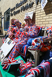Royal baby watchers Maria Scott, 46, from Newcastle, John Loughrey, 63, from Streatham (centre) and Terry Hutt from Weston-Super-Mare who is hoping 83rd birthday on April 30th will coincide with that of the birth of a new royal. They say they have been camped for nine days outside The Lindo Wing at St Mary's Hospital in Paddington, London, awaiting the arrival of William and Kate the Duke and Duchess of Cambridge. Kate is expected to have the royal couple's third child within the next few weeks. London, April 18 2018.