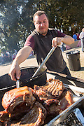 Chef Enrique Olvera during Cook it Raw outdoor BBQ event on Bowen's Island October 26, 2013 in Charleston, SC.