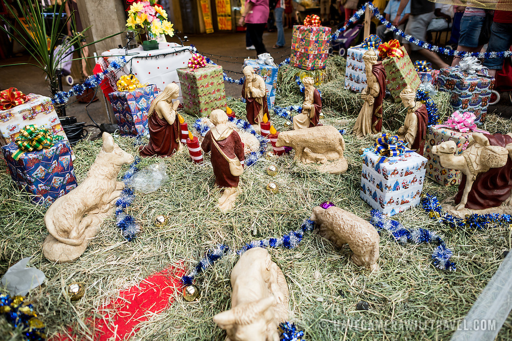 A nativity scene at La Vega Central Market in downtown Chile, just across the Mapocho River from the Mercado Central. La Vega specializes in fruit, vegetables, and dairy goods as well as a number of eateries preparing Chilean cuisine.