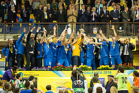 Ugra Yugorsk's team with the cup during UEFA Futsal Cup 2015/2016 Final match. April 22,2016. (ALTERPHOTOS/Acero)