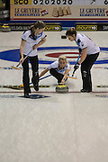 """Glasgow. SCOTLAND. Scotland's Vice """"Skip""""  relasing the """"Stone"""" as it passes over the """"Hog Line"""" during the Le Gruyère European Curling Championships. 2016 Venue, Braehead  Scotland<br /> Sunday  20/11/2016<br /> <br /> [Mandatory Credit; Peter Spurrier/Intersport-images]"""