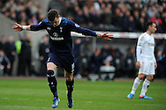 Gareth Bale of Tottenham celebrates after he scores his sides 2nd goal. Barclays Premier League, Swansea city v Tottenham Hotspur at the Liberty Stadium in Swansea, South Wales on Saturday 30th March 2013. pic by Andrew Orchard, Andrew Orchard sports photography,