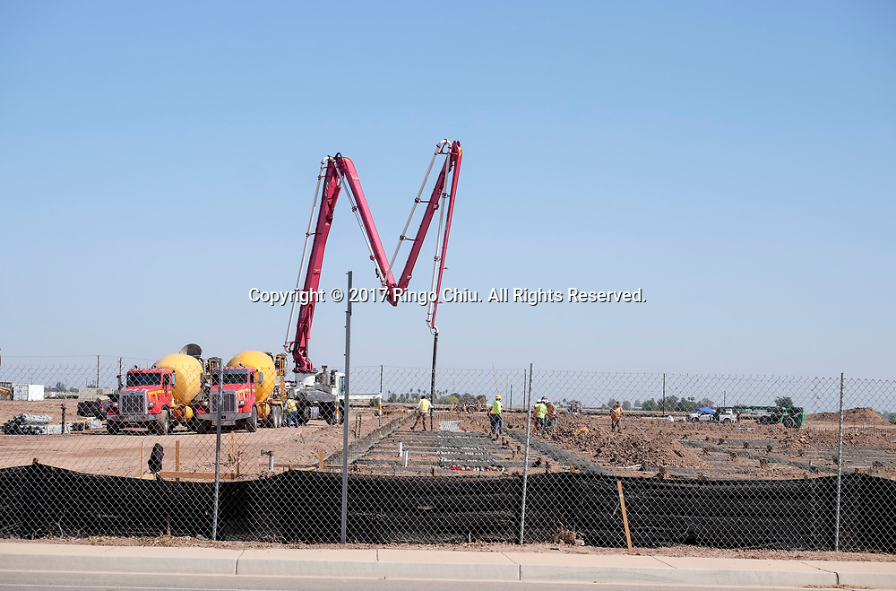 The construction site for a new shopping center by Pacificland International Development Inc., in Calexico (the US and Mexico border), California on Wednesday April 19, 2017. (Xinhua/Zhao Hanrong)