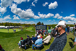 May 16, 2019 - Farmingdale, NY, U.S. - FARMINGDALE, NY - MAY 16: General view of fans overlooking the action on the 18th green during Round One of the PGA Championship Tournament on May 16, 2019, at Bethpage State Park in Farmingdale, NY (Photo by John Jones/Icon Sportswire) (Credit Image: © John Jones/Icon SMI via ZUMA Press)