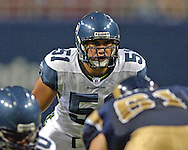 Seattle linebacker Lofa Tatupu (51) during game action against St. Louis at the Edward Jones Dome in St. Louis, Missouri, October 9, 2005.  The Seahawks beat the Rams 37-31.