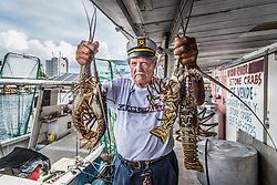 Manuel Prieguez, shows off a catch of Florida Spiny Lobsters at Miami River Lobster & Stone Crab.