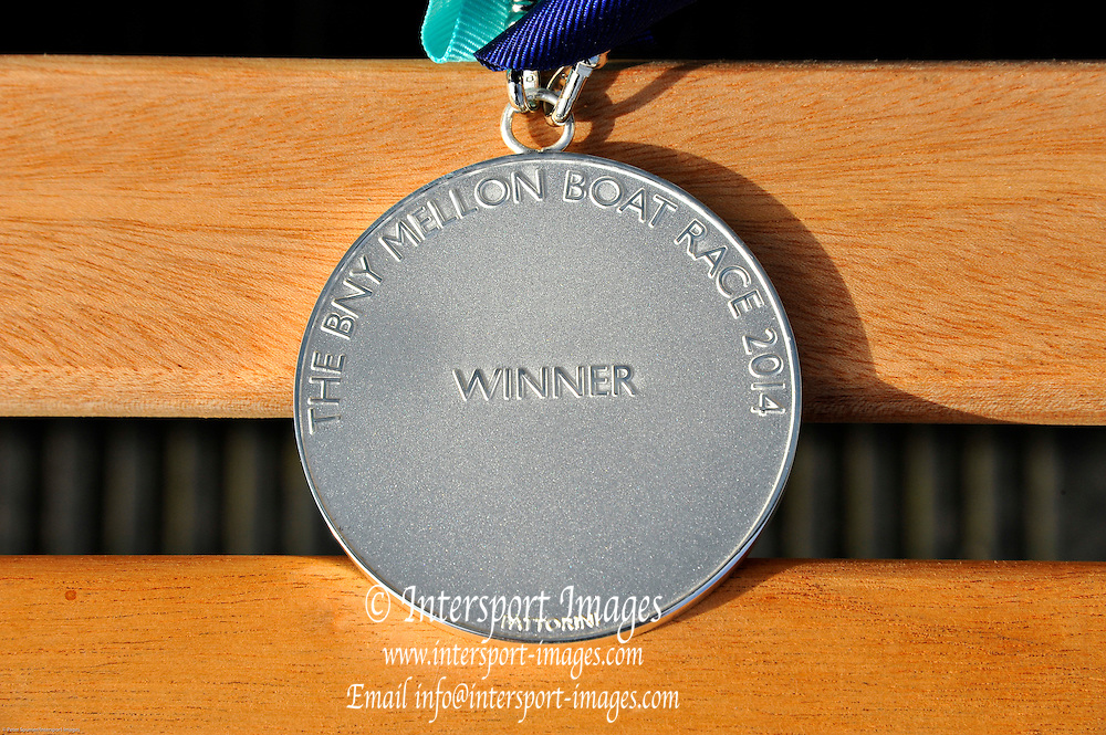London, UK,  2014 Varsity, Annual Tideway Week. Thomas Fattorini. Winner's Medal. 04:59:43  Saturday  05/04/2014  : [Mandatory Credit Intersport Images]