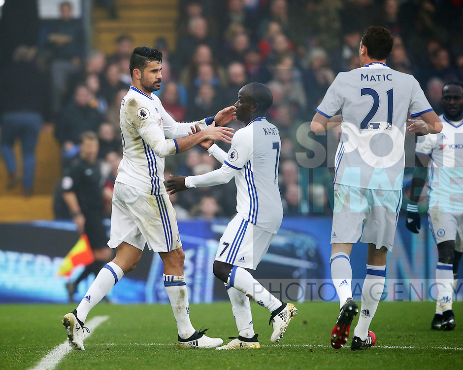 Chelsea's Diego Costa scoring his sides opening goal during the Premier League match at Selhurst Park Stadium, London. Picture date December 17th, 2016 Pic David Klein/Sportimage
