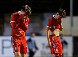 RHYL, WALES - Wednesday, November 14, 2018: Wales' Morgan Boyes and Neco Williams show a look of dejection following a 1-2 defeat in the UEFA Under-19 Championship 2019 Qualifying Group 4 match between Wales and Scotland at Belle Vue. (Pic by Paul Greenwood/Propaganda)
