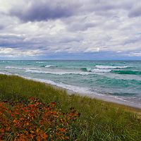 """""""Colors of Autumn on Lake Superior"""" <br /> <br /> Beautiful white capped waves roll across the blue-green waters of Lake Superior during an autumn storm! Orange fall foliage blues in the wind as the clouds pass swiftly by!"""